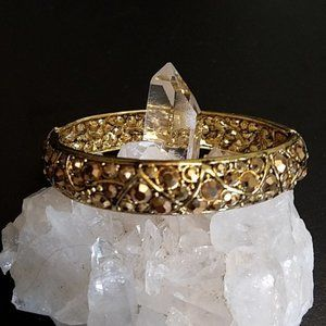 Hollycraft Golden Aurum Rhinestone Bracelet